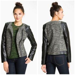 Trouvé Faux Vegan Leather Sleeve Tweed Moto Jacket